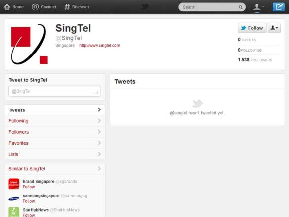 Singtel's Twitter account (as of 22 April 2012)