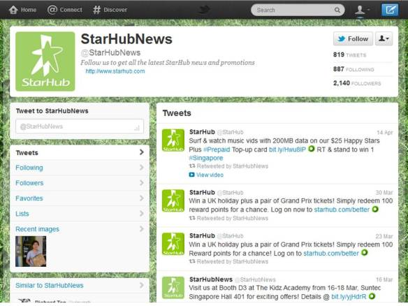 Starhub's Twitter account (As of 22 April 2012)
